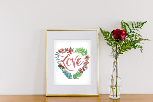 Love White Heart Wreath Art Print