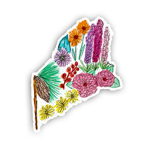 Floral State Sticker - Maine