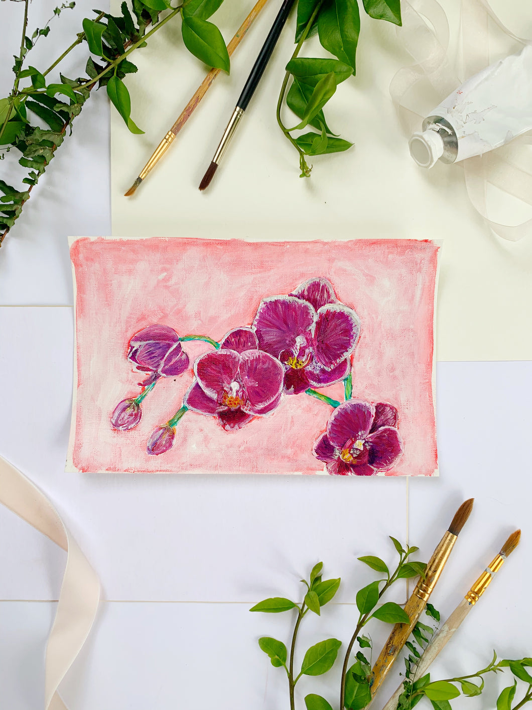Family Floral Orchid Original Painting - Mari