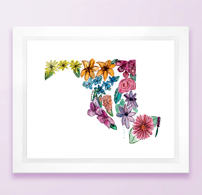 Floral State Map Print - Maryland
