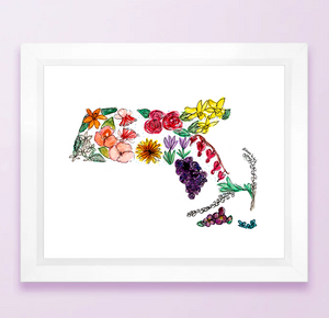 Floral State Map Print - Massachusetts