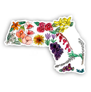 Floral State Sticker - Massachusetts