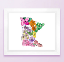 Load image into Gallery viewer, Floral State Map Print - Minnesota