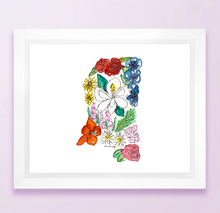 Load image into Gallery viewer, Floral State Map Print - Mississippi