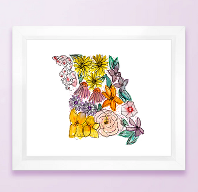 Floral State Map Print - Missouri