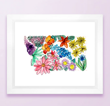 Load image into Gallery viewer, Floral State Map Print - Montana