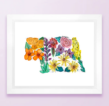 Load image into Gallery viewer, Floral State Map Print - Nebraska