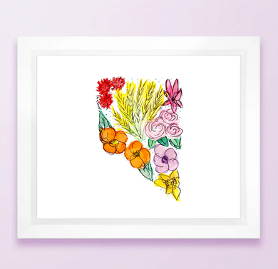 Floral State Map Print - Nevada