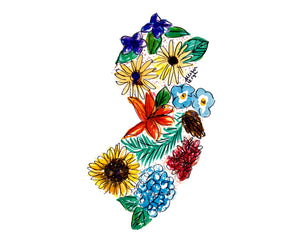 New Jersey Floral State Print