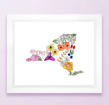 Load image into Gallery viewer, Floral State Map Print - New York