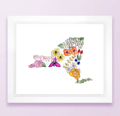 Floral State Map Print - New York