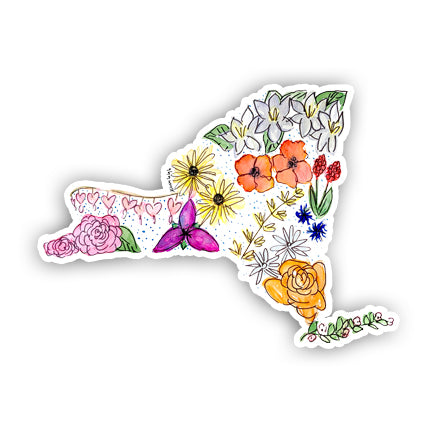 Floral State Sticker - New York