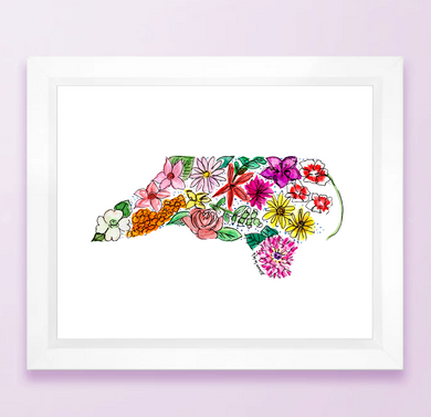 Floral State Map Print - North Carolina