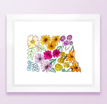 Load image into Gallery viewer, Floral State Map Print - North Dakota