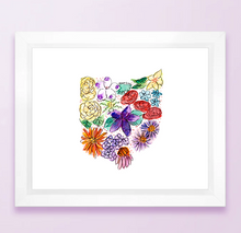 Load image into Gallery viewer, Floral State Map Print - Ohio