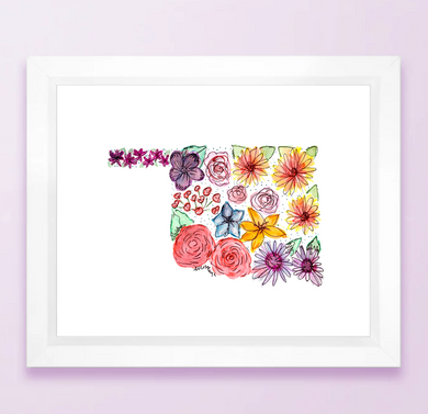 Floral State Map Print - Oklahoma