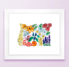 Floral State Map Print - Oregon
