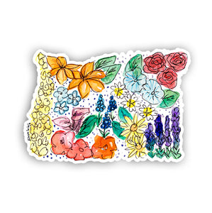 Floral State Sticker - Oregon