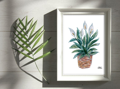 Watercolor Plant Print - Peace Lily