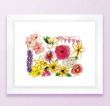 Load image into Gallery viewer, Floral State Map Print - Pennsylvania