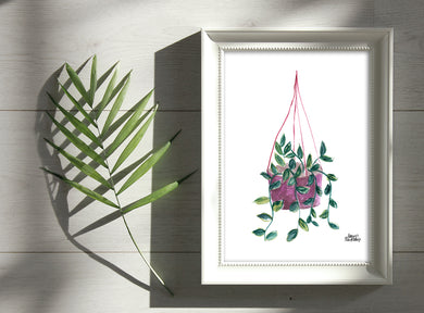 Watercolor Plant Print - Pothos
