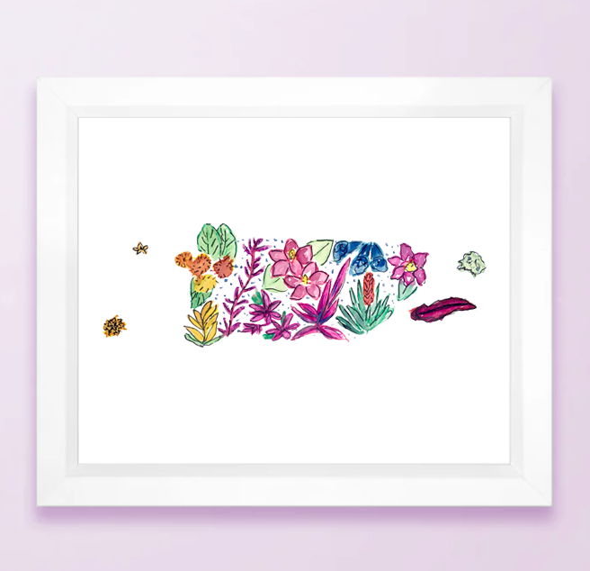 Floral State Map Print - Puerto Rico