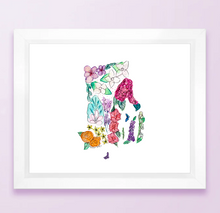 Load image into Gallery viewer, Floral State Map Print - Rhode Island