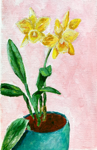 Family Floral Orchid Original Painting - Rita