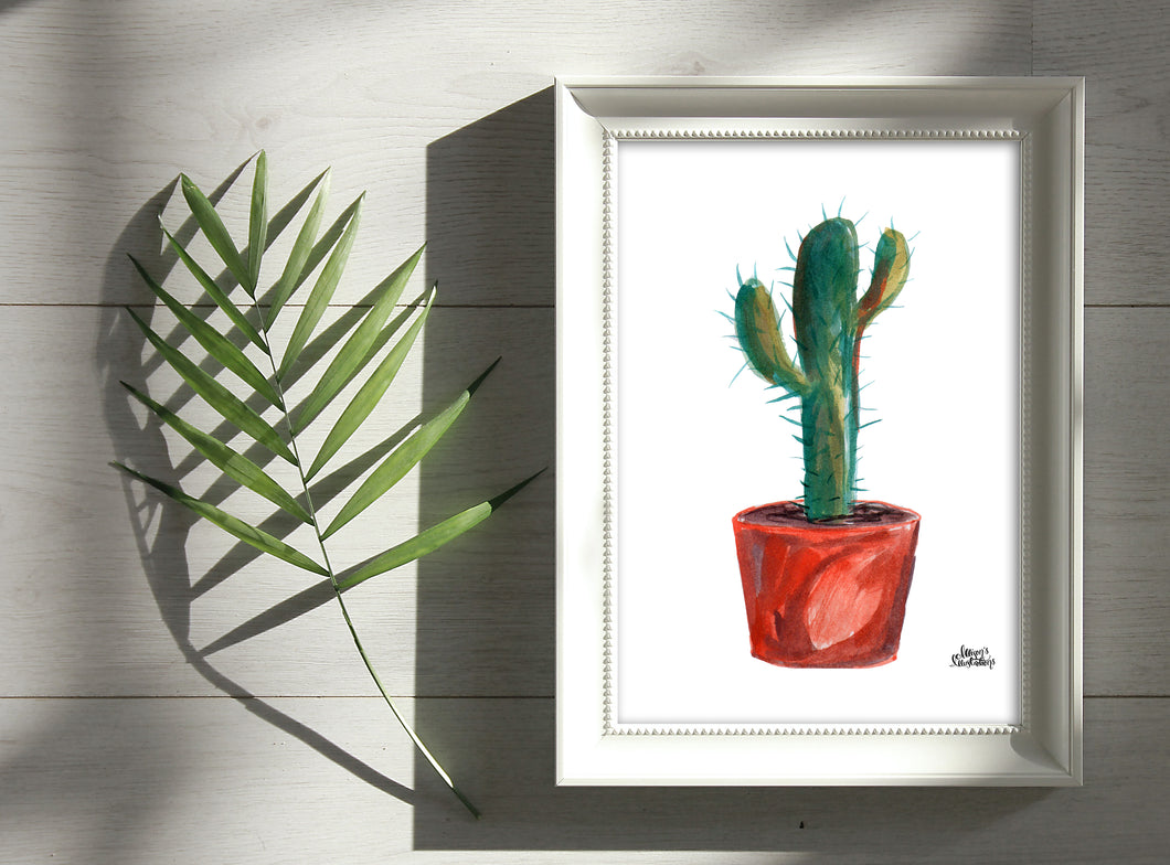 Watercolor Plant Print - Saguaro