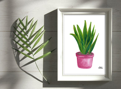 Watercolor Plant Print - Snake Plant