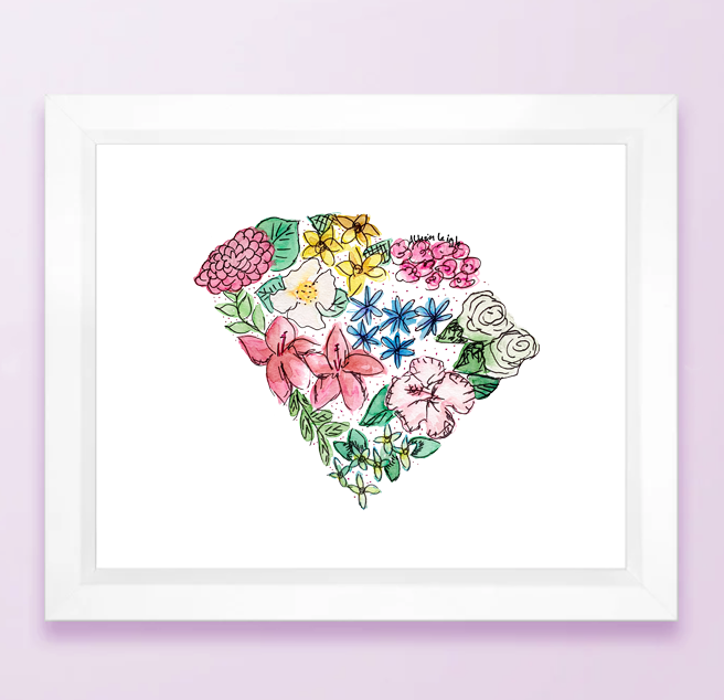 Floral State Map Print - South Carolina