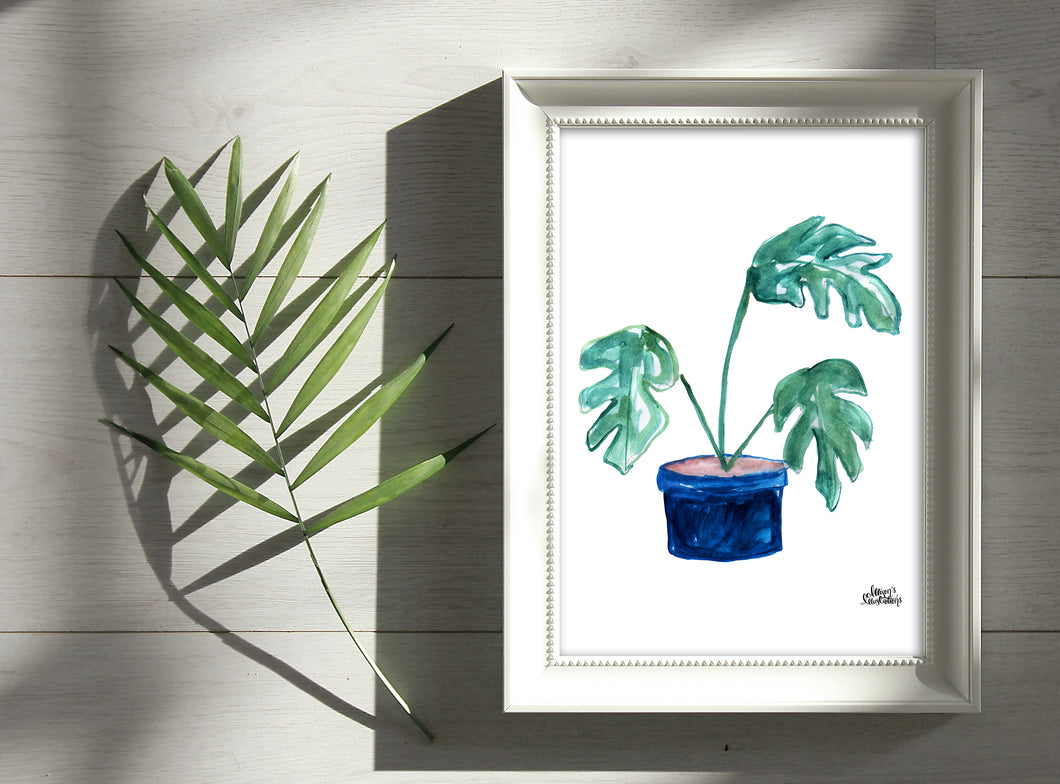 Watercolor Plant Print - Split-Leaf Philodendron