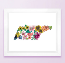 Load image into Gallery viewer, Floral State Map Print - Tennessee