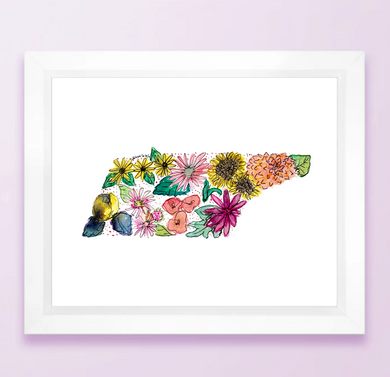Tennessee Floral State Print