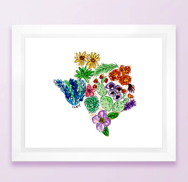Texas Floral State Print