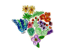 Load image into Gallery viewer, Floral State Map Print - Texas