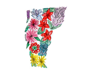 Vermont Floral State Print