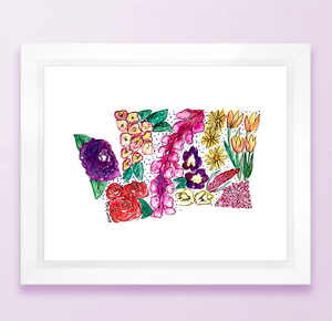 Floral State Map Print - Washington