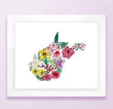 Load image into Gallery viewer, Floral State Map Print - West Virginia