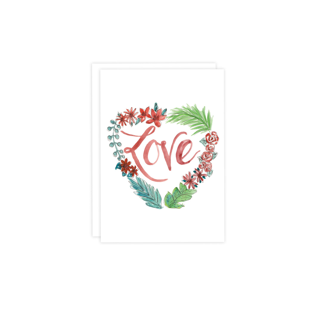 White Heart Love Wreath Valentine's Card