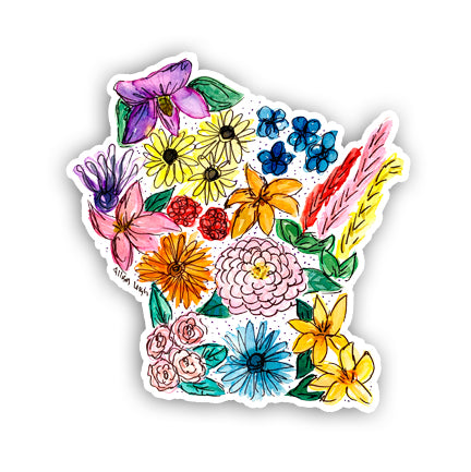 Floral State Sticker - Wisconsin