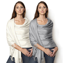 Load image into Gallery viewer, silver ivory pashmina shawl