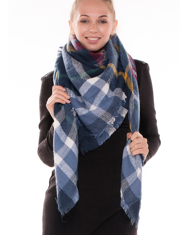 Blue Tartan Plaid Blanket Scarf