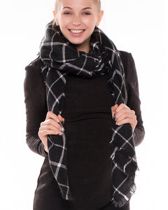 Black Tartan Plaid Blanket Scarf