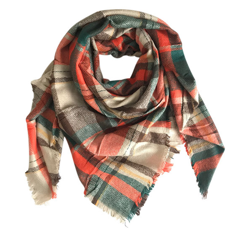 Brown Orange Tartan Plaid Blanket Scarf