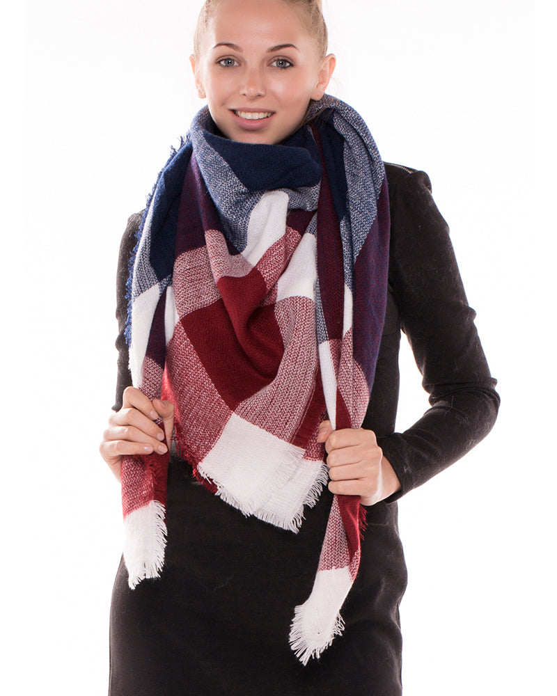 Burgundy Blue Tartan Plaid Blanket Scarf
