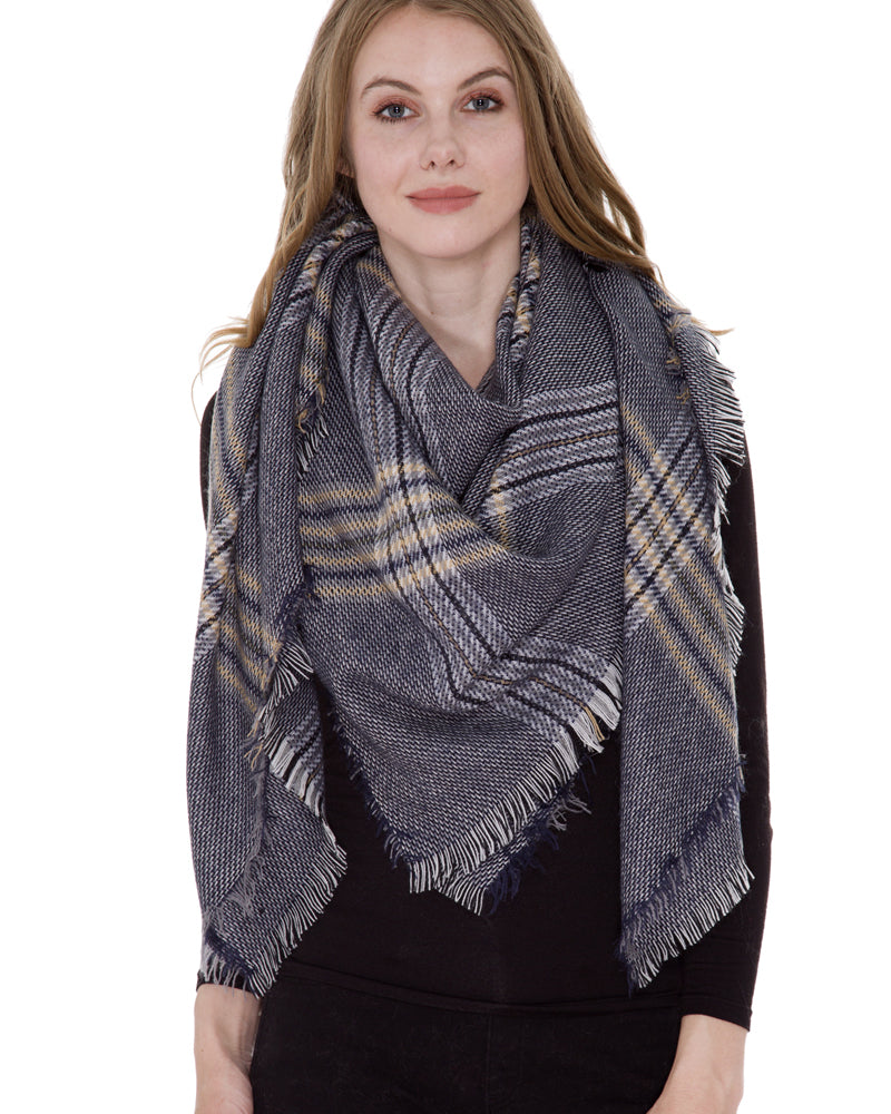 Navy Beige Tartan Plaid Blanket Scarf