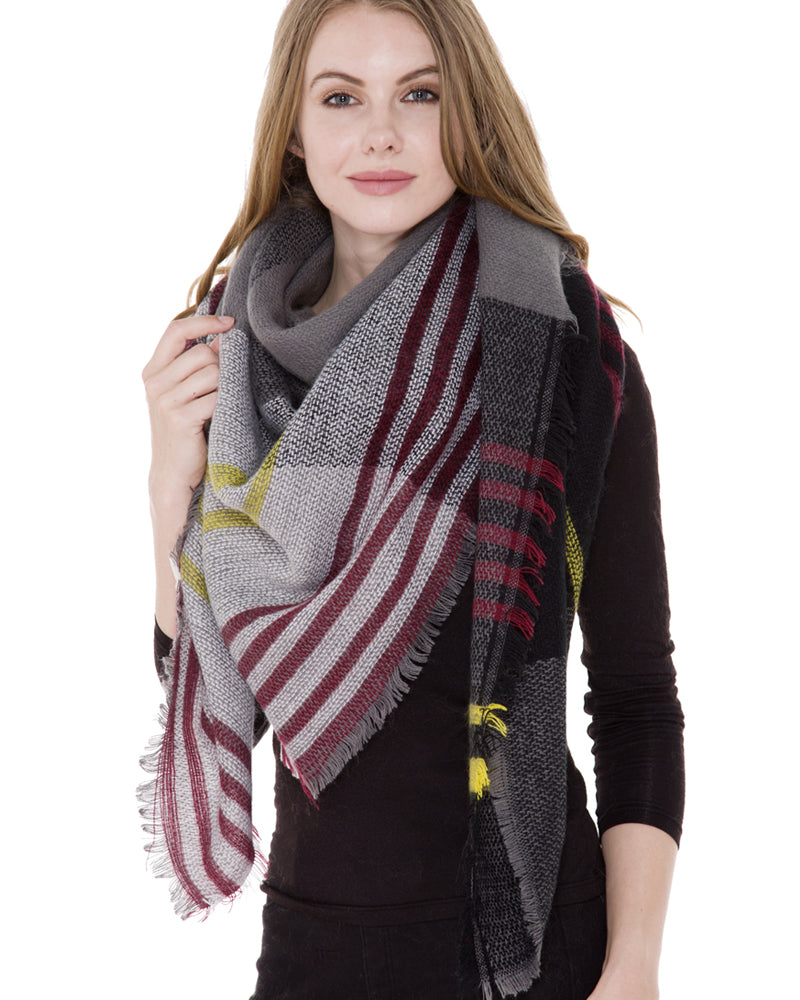 Grey Wine Tartan Plaid Blanket Scarf