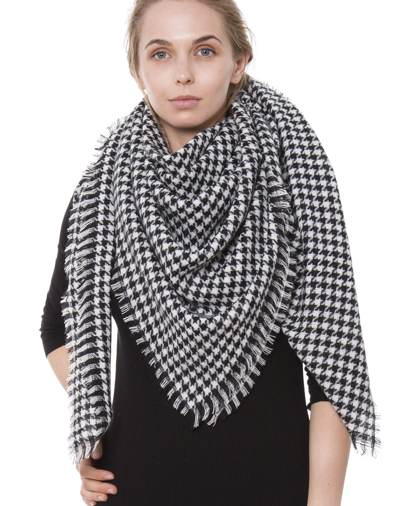 Black White Tartan Plaid Blanket Scarf