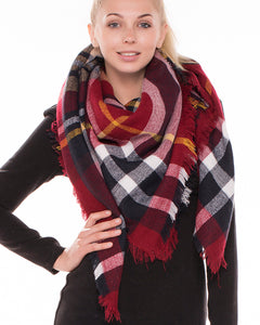 Burgundy Navy Tartan Plaid Blanket Scarf